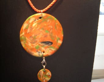 Collier mi long pucks Orange polymer clay