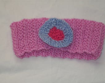 Girl's Handknit Pink Headband/Earwarmer with Blue and Pink Decoration - New