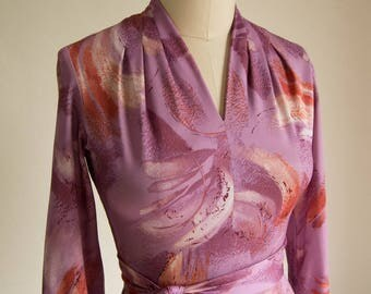 Vintage 70's Purple Abstract Dress w/ a Pleated Stand Collar