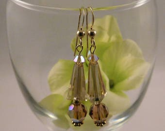 Topaz Swarovski Crystal Earrings in GoldFilled