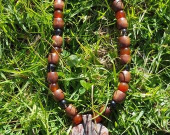 Turquoise Leaf Necklace w/Smokey Quartz and Carnelian