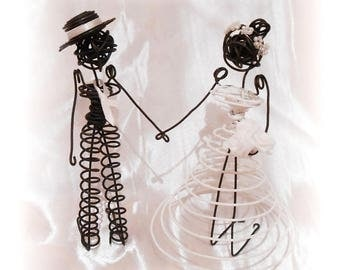 Married couple in annealed iron wire - to order