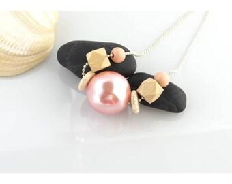 "Long necklace mi pink light, ""samba"" collection"