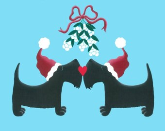 Scottie dog Christmas cards, Scottish Terrier 6 pack