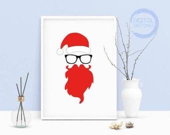 Printable Art Santa Claus Beard, Glasses Print, Printable Artwork Santa Claus, Beard Wall Art, Poster Print,