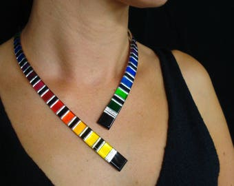 """Epure """"Rainbow"""" with silver leaf necklace"""