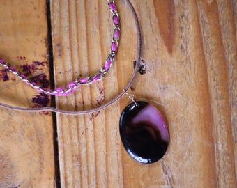 2 strand necklace with dark purple stone pendant/ boho style necklace