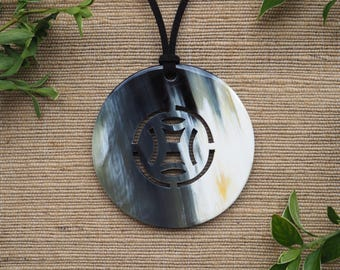Buffalo Horn Pendant 7cm Natural Horn Color Material Leather Necklace Large Circle H.PN10