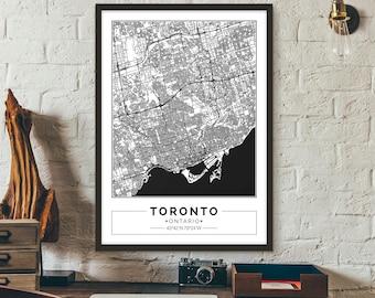 Toronto, Ontario, Canada, City map, Poster, Printable, Print, Street map, Wall art