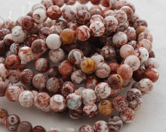 "High Quality Grade A Natural Laguna Agate (red, white) Semi-precious Gemstone Round Beads - 4mm, 6mm, 8mm sizes - 16"" strand"