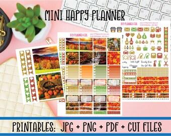 Autumn Harvest Printable Planner Kit | Fall Pumpkins DIY Planner Stickers | Cut Line Files | Mini Happy Planner Stickers Printables