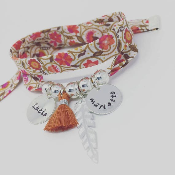 Personalised Liberty bracelet GriGri XL with 2 custom ENGRAVINGS, silver feather and tassel by Palilo