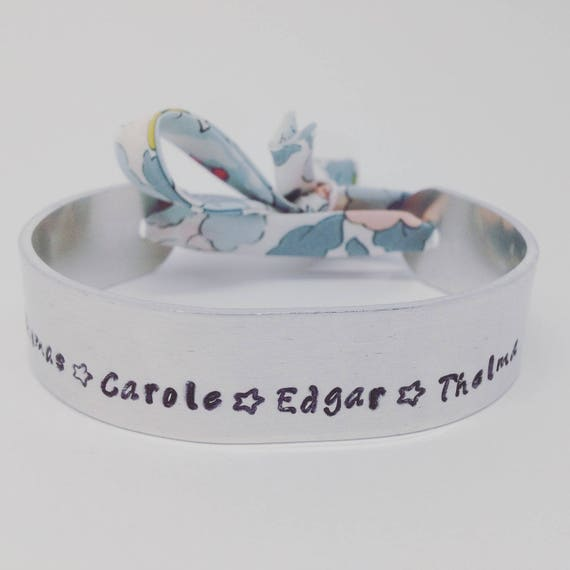 ★ Custom Creation Personalized Bracelet Liberty Betsy porcelain - Bangle cuff with Ribbon ★