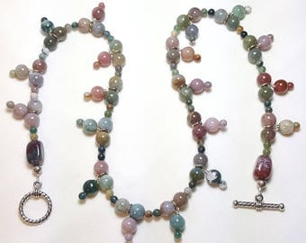 Fancy Jasper Gemstone Single Strand Necklace Earrings Set