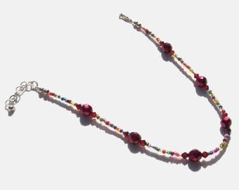 Ruby Red Multi Color Beaded Ankle Bracelet 10.5