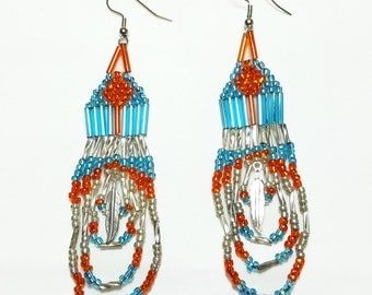 Orange Turquoise Silver Feather Beaded Dangle Earrings