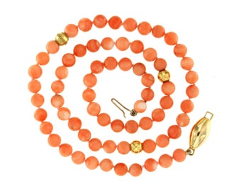 Natural pink coral necklace 6 mm. and yellow gold 18 kt. Natural Stones, Vintage necklace, Choker Era 750 years 80, Coral beads