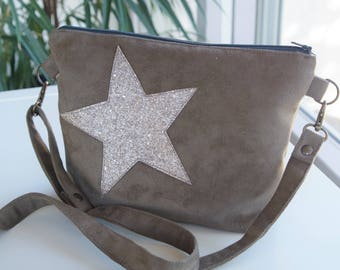Handmade to order - 100% taupe suede shoulder bag handmade with adjustable shoulder strap