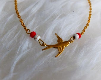 The Choker necklace / / bird - beaded white Turquoise