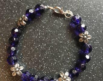 Floral gem bracelet