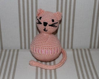 Pink Ribbon toy with pink and white stripes