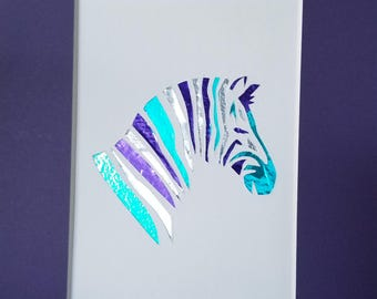 Zebra Collage in Metallic Purple, Silver and Teal