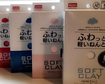 Daiso Clay (White, Salmon, Red, and Blue)