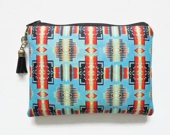 Travel Pouch, Navajo, Tribal, Aztec, small zipper bag, travel bag, wallet pouch.