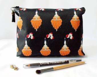 Gifts for her, Wash bag, art deco, travel bag, cosmetic bag, zip bag, make up bag.