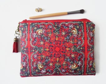 Mum gifts, Russian scarf inspired print, zipper wallet, sewing pouch, make-up bag.