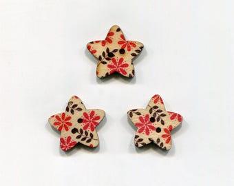 buttons 3 star 25mm * 2 flower pattern * wood