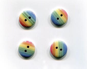 buttons 4 striped * Rainbow * 15mm * wood