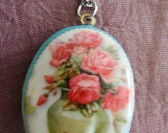 Pendentif vintage bouquet de roses
