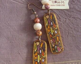 """Boucles longues style """"Klimt"""" multicolores dorées"""