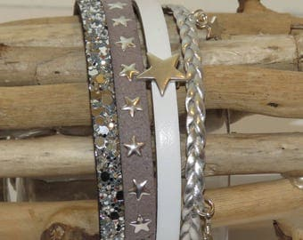"Bracelet cuff ""Star and glitter"" leather, suede leather and star sequins, white, grey and silver"