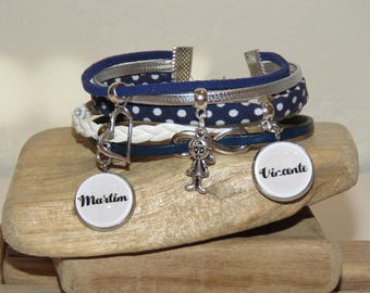 Cuff Bracelet personalized with 2 first names of your choice, leather, bias peas, suede, Blue Navy, white