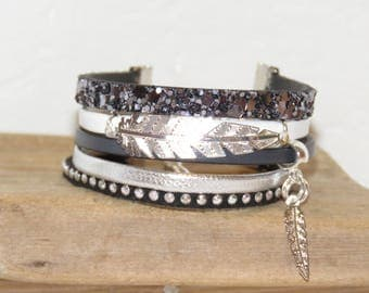 Cuff Bracelet, multi-row for teen, black, white, grey, silver charm feathers, sequins, studded, suede leather