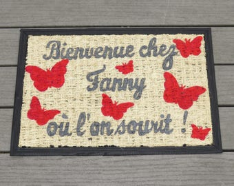 "Doormat personalized ""welcome home!"" with name and butterflies, gray, red color"