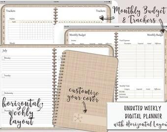 Digital Horizontal Layout Planner or Digital Journal iPad Goodnotes   Digital Journal   Undated With Functioning Tabs   Minimal Design