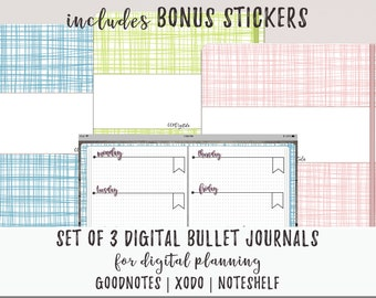 Digital Bullet Journal Set of 3 for Goodnotes Xodo Noteshelf Notability   Linked Index Pages    Simple Bujo Design   Digital Journal