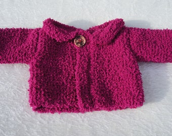 3 months: little jacket/Cardigan, handmade, hot pink plush yarn