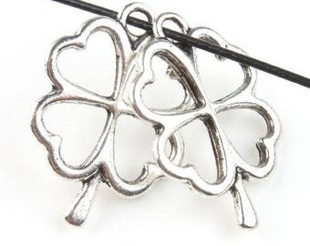 CLOVER has 4 leaves - Charm's silver pendant, lucky - 20 mm approx.