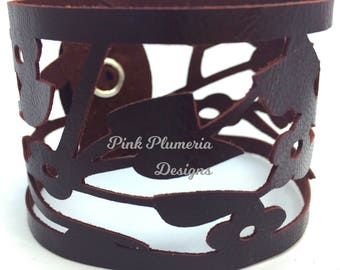Leather Flower Cutout Cuff, Floral Jewelry, Wearable Art Bracelet, Statement Cuff