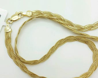 "14k Solid Yellow Gold Braided Foxtail Wheat Bracelet 7"" 3.5mm Women"