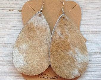 Cream and Tan Hair on Leather Teardrop Earrings, Leather Earrings, Statement Earrings