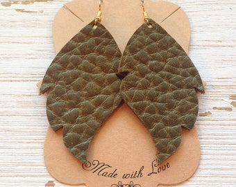 Olive green leather leaf earrings, Leather Earrings, Leaf Earrings, Statement earrings