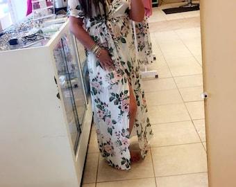 Floral Plus Size Wrap Vintage Maxi Dress