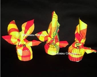 West Indian headdress in red and yellow madras