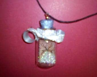 Snowball vial necklace