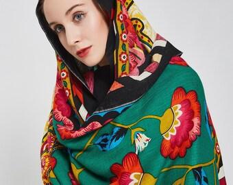 Shawl Multicolor Pashmina Scarf Boho Bohemian Shawl Winter Cashmere Scarf Oversized Wool Shawl Hijab Wrap Womens Scarves Esharp Gypsy Scarf